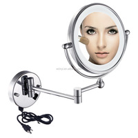 LVYI 8-Inch Two-sided Swivel Wall Mounted Makeup Mirror LED Light with 5x Magnification Chrome Finish LY-1805D(8in,5x)