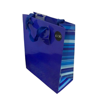 Custom biodegradable fashion high end dark blue printed kraft paper shopping bag with hook, side striped