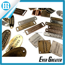 Wholesale clothing private label, metal clothing tag labels, gold label clothing