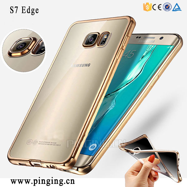 Clear Ultra Thin Crystal Transparent Rubber Plating TPU Soft Case Cover For Samsung S7/edge Phone Accessory