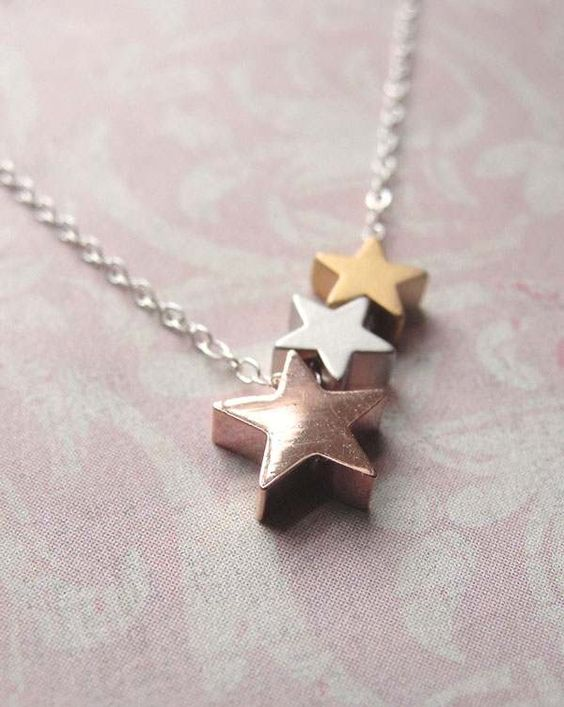 New arrival sterling silver 3 plated gold tone star shape choker statement necklace