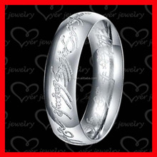 Domed design engraved round letter anodized titanium ring jewelry