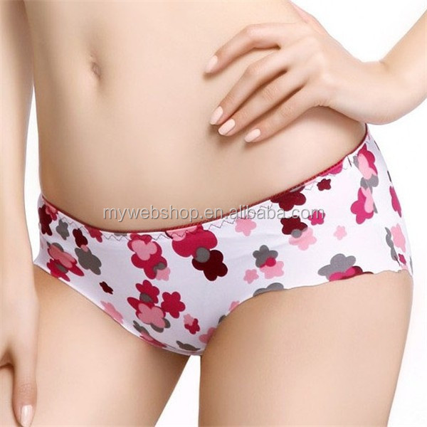 European-style hip seamless night and daytime plum blossom printed panty underwear