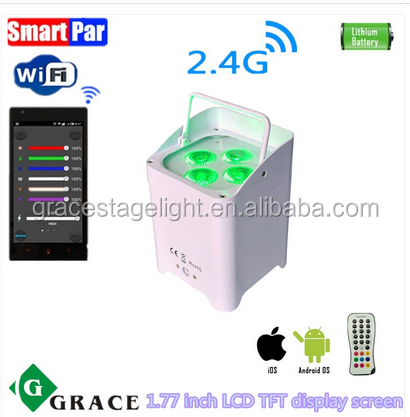 2017 New 4*12W 6in1 RGBWAUV GL-Smart4 battery powered wireless dmx led par with wifi