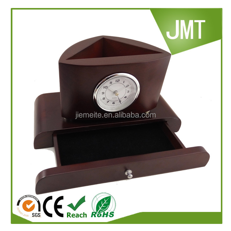 Office desktop vintage wooden table clock with holder
