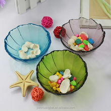 Colorful Bowl shaped Glass Fruit Bowl Colorful Decorative Glass Microwave Safe Bowl
