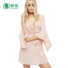 Fashion Style Long Sleeve Deep V Neck Ladies Sexy Pink Short Dress in Stock