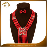 Western style ladies wedding bead necklace set hot selling women multilayer tassels statement necklace