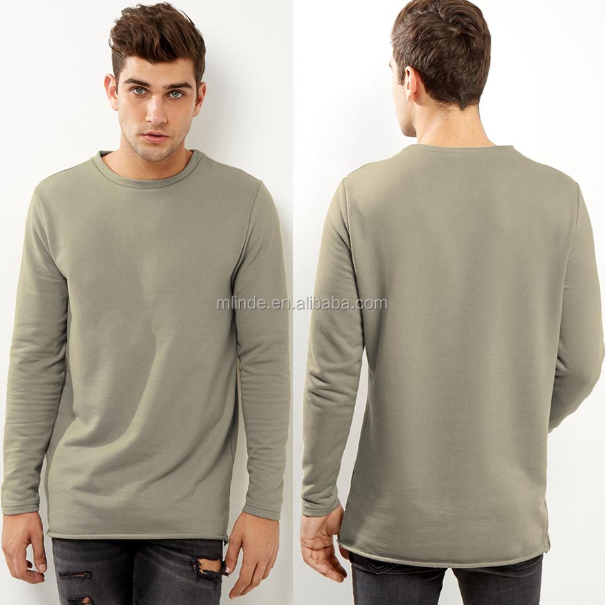 Men Woolen Sweater Design 50% Cotton 50% Polyester Basic Blouse Grey Longline Rolled Hem Sweater Men