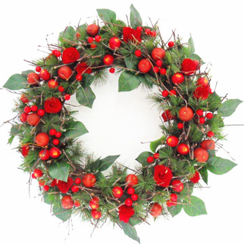 Traditional Decorative Cherry Wreath Door Wreath Christmas Wreath