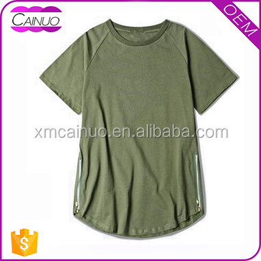 Longline tshirt with tail custom blank style plain tee shirt