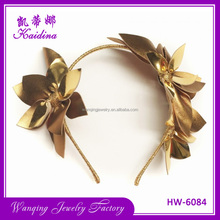 Latest designer women head decoration hair accessories elegant gold shining leather hairband