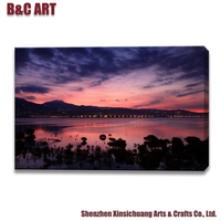 Modern Wall Art Painting Fabulous Sunset Glow Picture Digital Canvas Printings for Hotel Decor