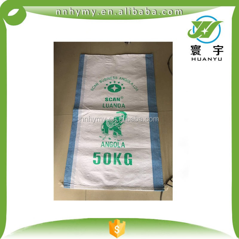 pp 50KG grain bags with blue string at the side offset printing 50KG bags dimensions