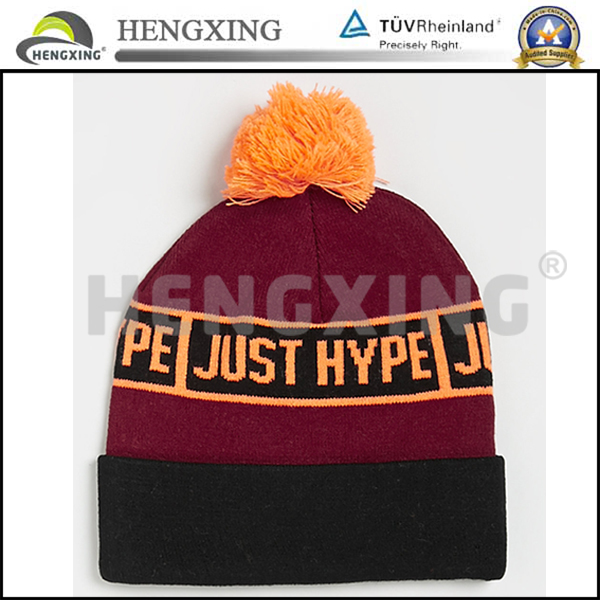 Womens cheap wholesale leather patch custom knitted hats/knitted caps