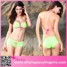 2015 O-Ring Delicate Flower Accent Green Bikini Swimsuit