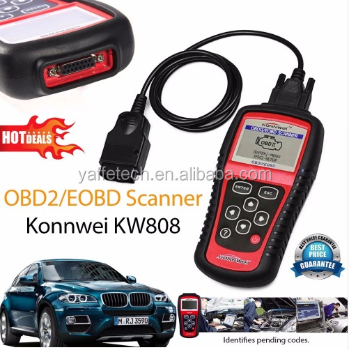 Hot Sale OBD2 Scanner KW808 Car Diagnostic Code Reader CAN Engine Reset Tool KONNWEI Auto Scanner Coverage(us Asian & European)