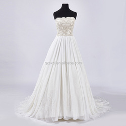 China New Arrival High Quality Beaded Wedding Dress Vintage Strapless Train Custom Made Wedding Dress for Girls