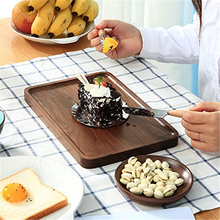 Rectangle shape waterproof easy clean wooden food tray
