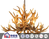 vintage polyresin deer antler chandelier, deer antler lamp, deer antler lights for hotel decorative