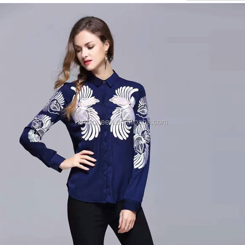 Wholesale Navy Emboried Long Sleeve Silk Blouses Handsome Wear in Spring