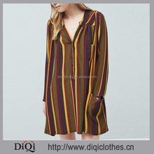 Wholesale Tee Shirt Style Collar Long Sleeve Side Pockets Patch Pocket Front Button Fastening Striped Tee Shirt Dress