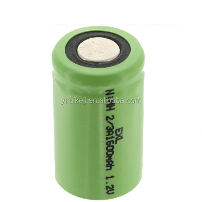 2/3A 1600mAh 1.2V NIMH Rechargeable Flat Top Battery