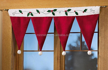 santa hat window valance , christmas curtain for christmas decoration