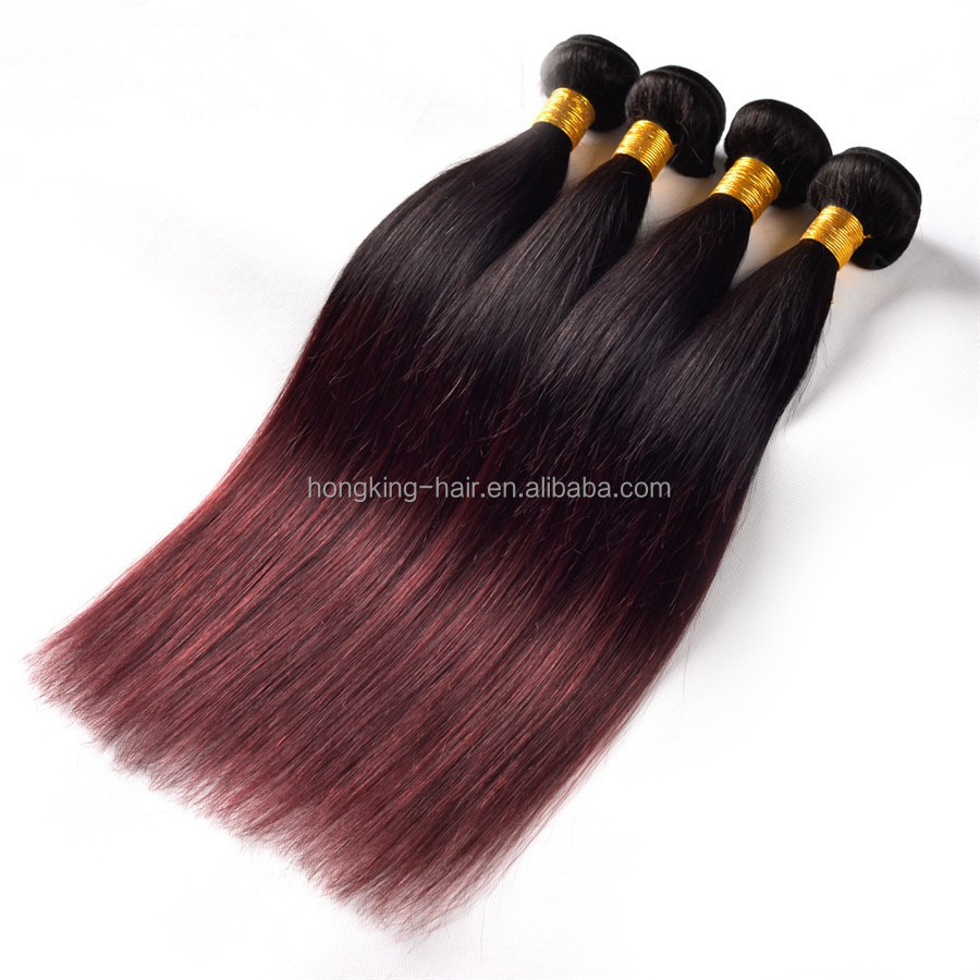 burgundy Virgin Human Hair Body wave Extensions ombre hair