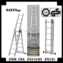 Aluminum long combination step extension ladder with 3*6steps BF-636