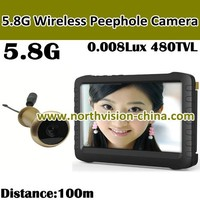 Hot! 5 inch wireless peephole viewer with wireless intercom system, motion detection