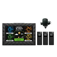 Color Display Wireless Home Weather Station With Three Outdoor Sensor