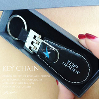 Personalized custom PU Leather keychain / Leather keychain / Zinc alloy metal keyring