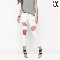 pure cotton denim fabric distressing ripping holes front skinny fit jeans new designs photos JXZ124