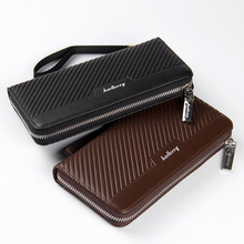 New design men purse wholesale custom logo with stripe zip around wallet with coin slot