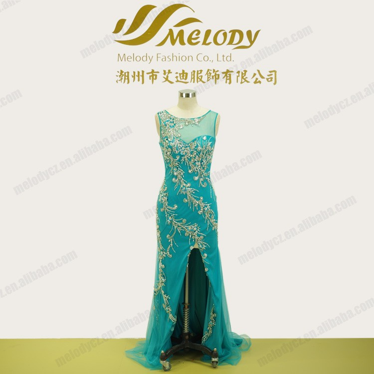 New arrival summer short tail beaded slit designs sexy revealing evening dress