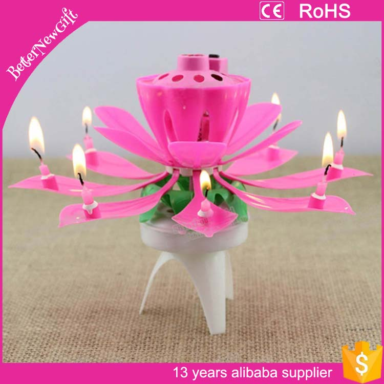2017 new arrival amazon lotus birthday candle with music wholesale
