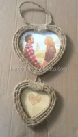 New design handmade 2pcs bind hemp rope photo frame