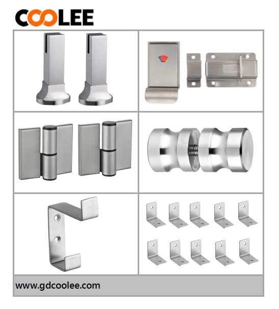 Coolee stainless steel material toilet cubicle partition hardware