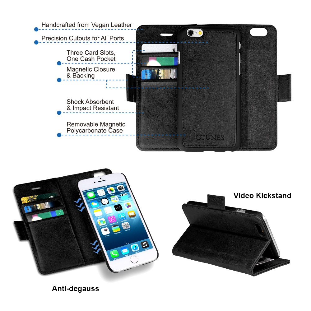 C&T Detachable PU Leather Wallet Flip Credit Card Holder Case Cover For Apple iPhone 6s