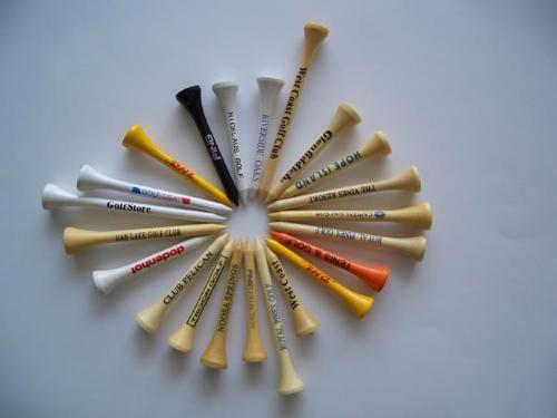 HIgh quality White Colored Custom Printed Bulk Wooden Golf Tees plastic tees