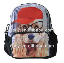 Soft Polyester Backpack, Printed Animal Bag, Dog Print Backpack,S457A120006