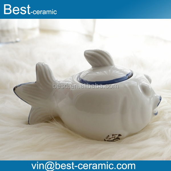 unique shape white ceramic fish cookie jar