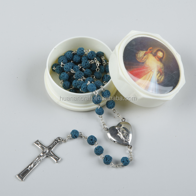 Multi color church cheap 6mm round wooden bead rosary
