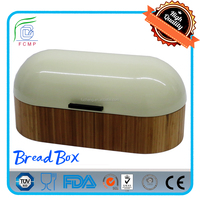 Unique vintage bamboo bread bin with color coated cover