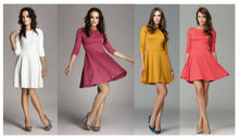 NEW! Lovely Skater Women's Half Sleeve Plus Size Lady's Clothing Dress Women's Charming Elegant Block Colorful Dress From GZ