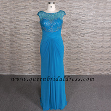 Beautiful bateau neckline cap sleeves crystal beaded chiffon floor length mother of dress