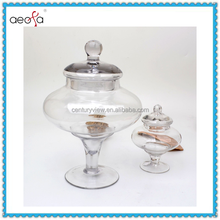 Mouth-Blown Big With Glass Lid Clear Glass Candy Jar