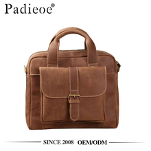 Padieoe PDA548-E vintage brown crazy h orse leather laptop men handbag