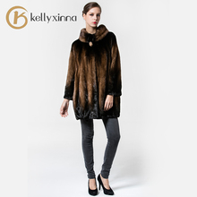 Fashion Women Long Winter Jacket coat for Silver Mink sable Fur Collar Coat